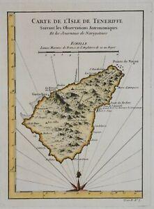 CANARY ISLANDS - TENERIFE - CARTE DE L'ISLE DE TENERIFFE BY BELLIN, CIRCA 1764.