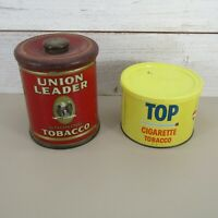Vintage Union Leader And Top Cigarette Tobacco Tin lot of 2 clean tins