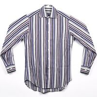 Etro Mens Size S Purple Striped Long Sleeve Casual Button Down Shirt Italy 38