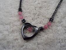 Hemetite Heart Pink Cat's Eye Glass Bead Necklace  (A29)