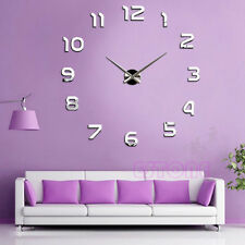 DIY Large 3D Number Mirror Wall Sticker Home Decor Big Watch Art Clock