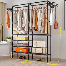 Closet Wardrobe Clothes Garment Storage Rack Dual Rod Shelves Hanger Organizer ~