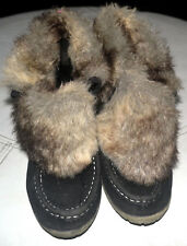 WOMEN'S ATMOSPHERE WEDGE FUR TOPPED BOOTS SIZE 4