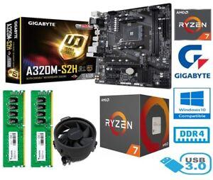 AMD RYZEN 7 2700 BUNDLE - 8 CORE - GIGABYTE A320M-S2H MOTHERBOARD - 16GB RAM