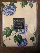 Ralph Lauren Cotton Tablecloth Hydrangea Floral Periwinkle Yellow 60 x 104