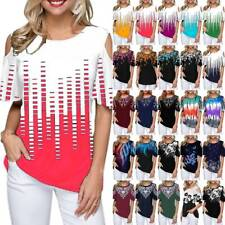 Plus Size Women T Shirts Cold Shoulder Blouse Print Tee Tops Summer Loose Casual