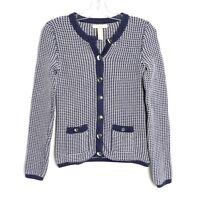 Banana Republic knit blazer blue white long sleeve cardigan sweater Size XS