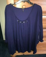 New Womens Plus Daisy Fuentes Savvy Sapphire Blue Long Sleeve Blouse Top 2X