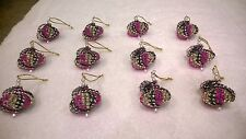 12 HANDMADE CHRISTMAS ORNAMENTS MADE WITH BLING GOLD BLACK AND PINK