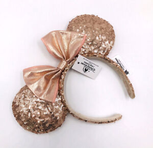 Champagne Gold 2020 Minnie Ears Disney Parks Mickey Mouse Bow Sequins Headband