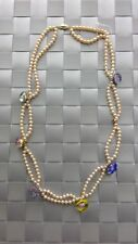 fill vint murano Millefiori glass Necklace Nat color fresh water pearl 14k gold