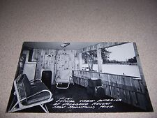 1950s CABIN INTERIOR VAGABOND RESORT IRON MOUNTAIN MICHIGAN RPPC POSTCARD