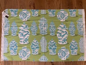 Dana Gibson For Stroheim Canton Fabric In Lime Turquoise