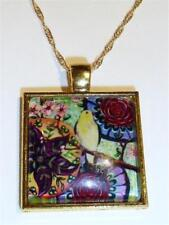Orientalische Vogel & Blume Anhänger Halskette - vergoldet cg0943