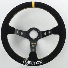 Racing 350mm Deep Dished Sport Drift Race Car Suede Alloy Steering Wheel YELLOW