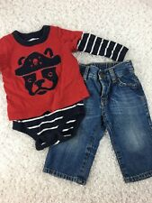 Baby Gap Boys Outfit Shirt One Piece Jeans 6 12 Months Pirate Dog Long Sleeve