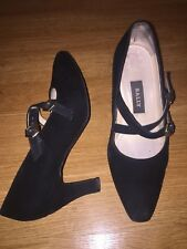 Vintage BALLY 7 US 4.5 UK Black Suede Double Strap Pump Mary Janes Heels EUC