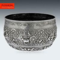 ANTIQUE 19thC BURMESE SOLID SILVER HAND CRAFTED BOWL c.1880