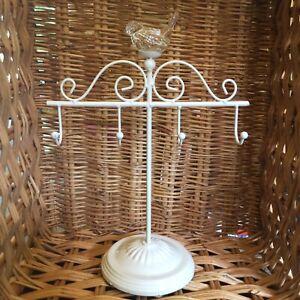 GISELA GRAHAM jewellery display stand, cream metal, bird,