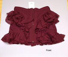 Topshop burgundy red ruffle chiffon mini skirt UK size 6 *BNWT* RRP £35