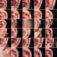 Punk Crystal Pearl Clip Ear Cuff Stud Women's Men Wrap Cartilage Earring Jewelry