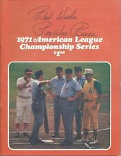 1971 ALCS Baseball Program Oakland A's @ Baltimore Orioles Gm 1 scord Reese auto