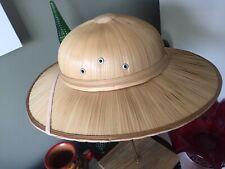 Vintage Straw Woven Safari Hat Jungle Hunter Explorer Helmet With Strap 7.5 Head