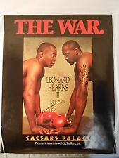 """AUTOGRAPHED RAY LEONARD vs. TOMMY HEARNS 2: """"THE WAR."""" 22 X 28 BOXING POSTER"""