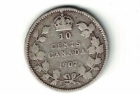 CANADA 1907 10 CENTS DIME EDWARD VII STERLING SILVER CANADIAN COIN