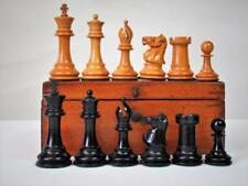 ANTIQUE CHESS SET  ENGLISH  LIBRARY  STAUNTON PATTERN  AND ORIG BOX NO BOARD