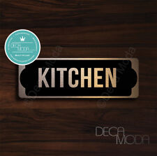 Kitchen Door Sign, Brushed Copper Finish Kitchen Door Sign Sign, 9 x 3 inches