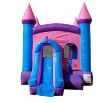 Pink Moonwalk Slide Commercial Inflatable Bounce House Combo With Blower