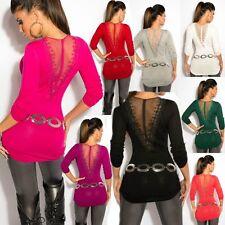♥ Sexy Miss Damen Long Pullover Raff Style Pulli Netz Spitze Stickerei 34/36/38