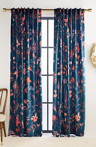 "Anthropologie Layne Velvet Floral Curtain - 50"" x 84"" - Single Panel"