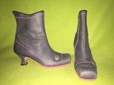 Slate Grey & Pink Stitch Fly London Ankle Boots 6.5 37