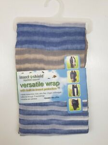 Insect Shield Repellent Womens Blue Stripe Versatile Wrap Scarf - 36X70 - NEW