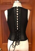 Lip Service Astro Vamps Rare Cyber Goth Neo Victorian Lace Up Back Top BLACK