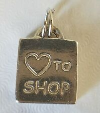 "Vintage Sterling Silver 925 ""Love to Shop"" 3D Shopping Bag Charm"