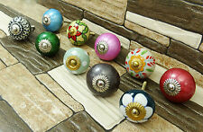 Vintage Hand Painted Cupboard Pulls Cabinet Kitchen Drawer Knobs Lot Of 10 Pcs