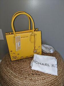 NWT Michael Kors $278 Mercer Medium Messenger Crossbody Tote Yellow/Gold