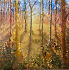 """oil landscape painting on canvas 48""""x48"""" textured trees"""