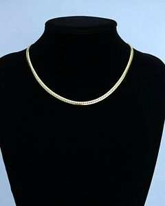 """GOLD PLATED - SERPENTINE SNAKE CHAIN NECKLACE - 18"""""""