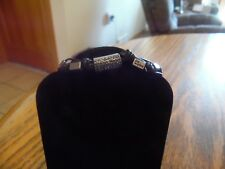 """Lia Sophia Silver & Black with Blue Cut Crystals Bracelet """"Comrade"""" 7-8 in. NWT"""