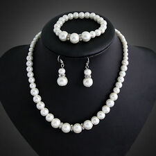 New Weddings Bridal Prom Ivory Pearls Jewellery Set Necklace Earrings Bracelet