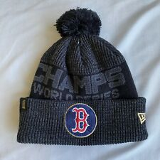 New Era Boston Red Sox World Series Champs Cuffed Pom Knit Hat Cap Beanie Gray