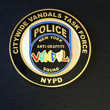 NYPD Police Challenge Coin Of Citywide Vandals Task Force Anti-Graffiti Unit NEW