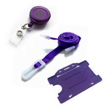 Neck Strap Lanyard Value Clip, ID Badge Card Holder & Retractable YoYo Purple