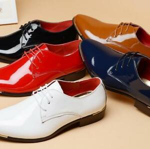 Mens Lace Up Pointed Toe Business Dress Formal Wedding Patent Leather Shoes Q161
