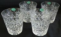 """Stuart England Connaught 4 Cut Glass Double Old Fashioned 3 7/8"""" Orig. Stickers"""