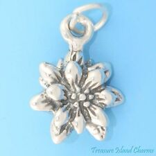 BLOOMING EDELWEISS FLOWER 3D 925 Solid Sterling Silver Charm Pendant MADE IN USA